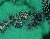 Vintage Ca Hand Prints Tablecloth CHRISTMAS PINE CONES