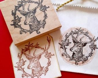 Buck Reindeer in Wreath  Rubber Stamp - Handmade rubber stamps