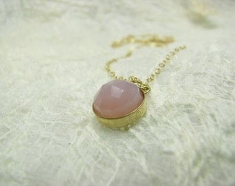 Necklace chalcedony gold filled Pendant. charm necklace, statement necklace, chalcedony necklace