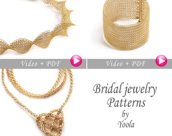 Bridal DIY wedding Tutorial Combo, Pay for 2 Get 3, Video and PDF tutorials, DIY jewelry Crochet Pattern, Instructions
