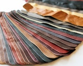 Set no4 36 pcs Leather Samples  scraps Mixed Colors