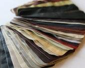 Set no9 40 pcs Leather Samples  scraps Mixed Colors