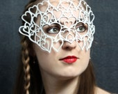 Hearts leather mask in white -- bridal