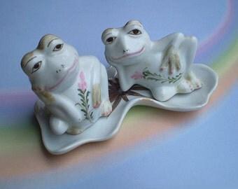 Vintage 60s Frog Salt and Pepper Shakers