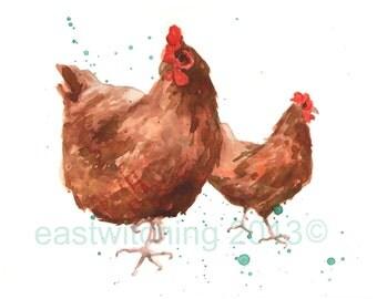 FARMHOUSE Decor, chicken painting, chicken print