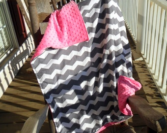 Large Gray Chevron and Hot Pink Minky Dot Blanket CHOICE OF MINKY