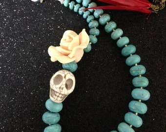 Day of the Dead Statement Necklace Beautiful Turquoise Gemstone Beads Where- Every Design Tells A Story-