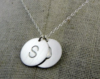 Double Silver Initial Necklace, Dot Duo, Two Charm Letter Jewelry, .925 Sterling Silver, Hand Stamped by E. Ria Designs