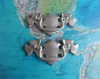 SALE! 2 vintage painted silver brass metal pull handles