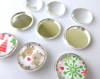 20 Magnets Kit DIY 16mm + 20 Settings Round + 20 Glass Domes Cabochons