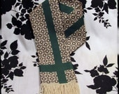Emerald Green and Tan Fringed Loki Stuttgart Scarf - Warning Label Creations