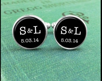 Silver or Brass - Cufflinks -Initials & Wedding Date- Wearable Art- Handmade by Lisa Owens