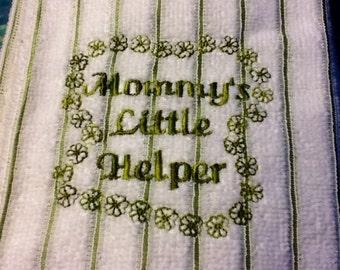 Mommy Dishtowel Embroidered Kitchen Towel, Saying ... Mommy's Little Helper - Tea Towel
