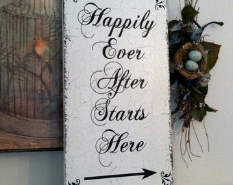 HAPPILY EVER AFTER Starts Here | Wedding Signs | Wood Wedding Signs | 24 x 12