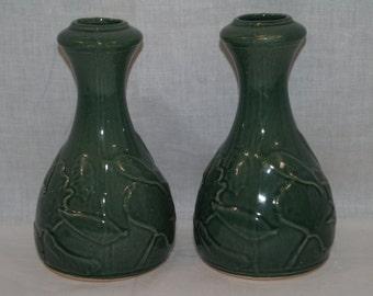 Pair of Vintage Rowe Salt Potttery Vases green