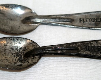 Vintage Ice Cream Spoons metal lot of 2 Fletcher and Imperial