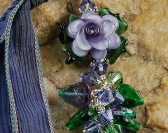 Lavender Rose Pendant Tutorial, Pendant Tutorial, Beaded Tutorial 458 by CC Design