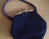 1940s Navy Coronet Corde Purse with floral kiss lock