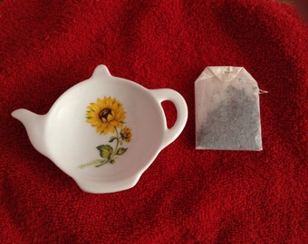 Ceramic Teabag Holder Sunflower 4.5""