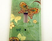 Switch Plate Light Switch Cover Wall Decor  Single Switchplate in Flutterby  (112S)