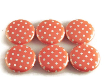 Funky Button Magnets  Refrigerator Magnets in  Tangerine Polka Dots Set of Six