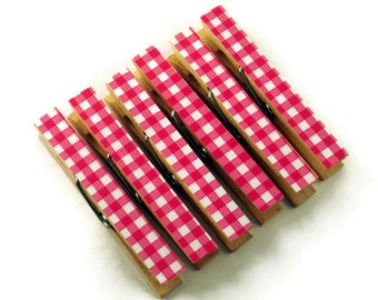 Clothespin Magnets Clothespin Clips  Decorative  Wooden Clothespins  in Pink Gingham