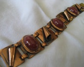 VINTAGE Copper Metal & Red Glass Costume Jewelry Bracelet