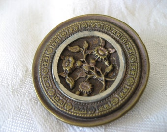Large Antique Metal Flower BUTTON