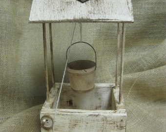 Wedding Wishing Well Distressed Rustic Wood Personalized - Item 1588