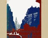 Printable 8 x 10 Trafalgar Square London Print Big Ben Print Travel Print British Lions Red London Bus Print Union Jack Navy Red White