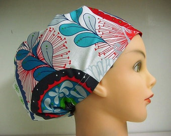 Womens Hybrid Style Surgical Scrub Hat Cap Wrenly Red White Blue Floral Swirl