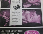 1960 Vintage Movie Life Magazine Advertisment  Lana Turner Anthony Quinn and Sandra Dee in Portrait in Black