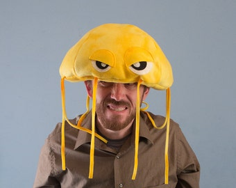 Jellyfish Hat Plush Fleece - Yellow Tie Dye