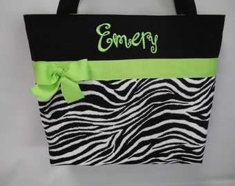 LIME Green   Accents .. ZEBRA  Print Diaper  Bag ... Personalized FREE