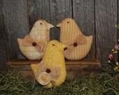 Primitive Yellow Prints Easter Chicks Peeps Tucks Ornie Bowl Fillers NBCOFG