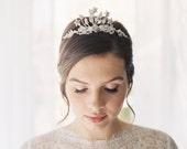 Jeweled tiara enamel rhinestone freshwater pearl - Clementine Style 1909