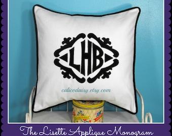 The Lisette Applique Framed Monogrammed Pillow Cover - 18 x 18 square