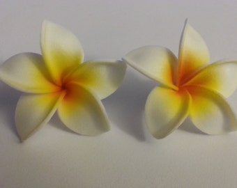 plumeria, hawaiian flower, plumeria barrette, plumeria, flower clip,hawaii, hair flower, yellow, yellow plumeria