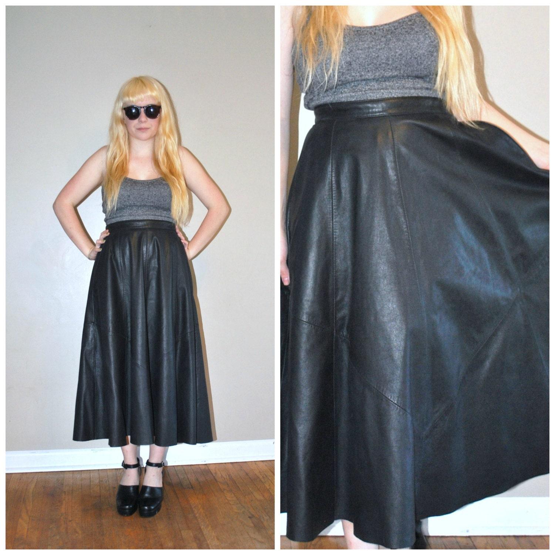 vtg leather maxi skirt circle skirt vintage 80s black