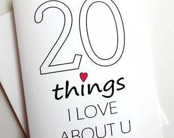 20 Things I Love About You card - Anniversary - Birthday - Wedding - Groom