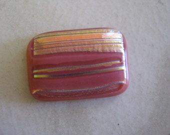 Square Pink Striped Dichoic Cabochon
