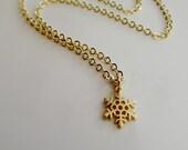 Tiny Snowflake Charm Necklace, Gold charm, Minimalist Modern Jewelry, Petite Jewelry pendant