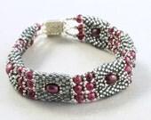 Garnet Beaded Bracelet, Sterling Bracelet, January Birthstone, Handmade