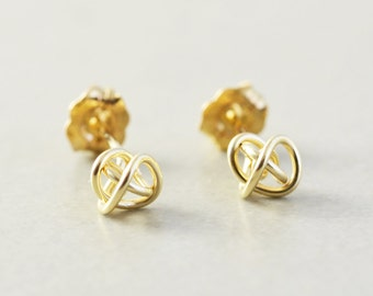 Gold Knot Posts, Knotted Jewelry, 6mm Metallic Studs, Love Knots, Bridesmaid Gift