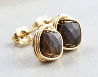 Smoky Quartz Studs, Brown Post Earrings, Brown Cube Posts, Square Studs