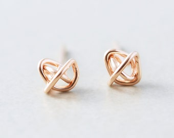 Rose Gold Studs, 6mm Post Earrings, Knotted Jewelry, Geometirc Posts, Love Knots, Bridesmaid Gift