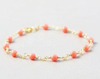 Coral Chain Bracelet, Salmon Bracelet, Orange Bracelet, Handmade