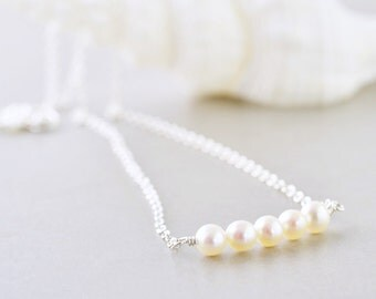 Pearl Necklace, White Pearl Necklace, June Birthday, Bridesmaid Gift