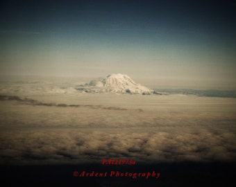 Mountain Scenery Aerial Photograph Black Vignette Blue Skies Sunset Mt Rainier Western Washington State - Above the Clouds - Fine Art