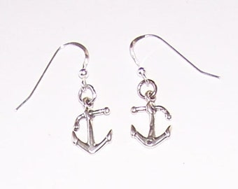 Sterling Silver BOAT ANCHOR Earrings- French Earwires - Boating, Ocean, Sailing